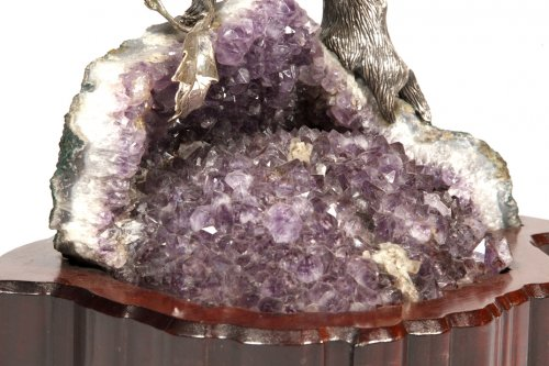 Antiquités - Eagle in silver on amethyst stone base, Italy XXth