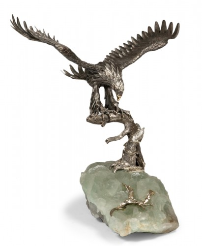 Eagle in silver on spatfluor base, Italy XXth