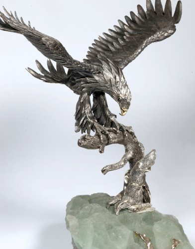 Eagle in silver on spatfluor base, Italy XXth - Antique Silver Style