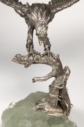 Antique Silver  - Eagle in silver on spatfluor base, Italy XXth