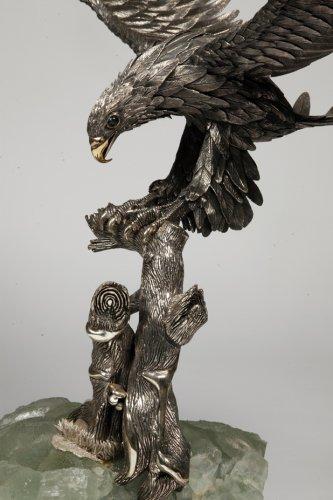 20th century - Eagle in silver on spatfluor base, Italy XXth