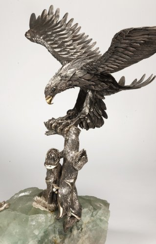 Eagle in silver on spatfluor base, Italy XXth -