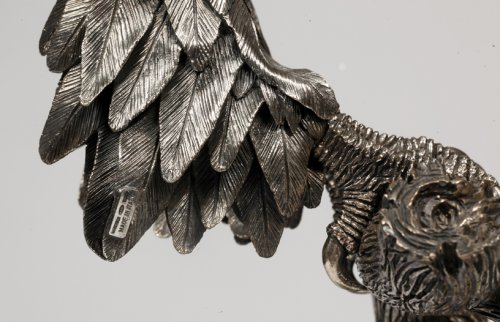 Antiquités - Eagle in silver on spatfluor base, Italy XXth