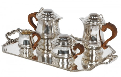 Tea/Coffee set and its tray in silver - XXth - by Fouquet Lapar