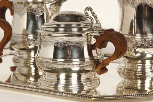Tea/Coffee set and its tray in silver - XXth - by Fouquet Lapar - Antique Silver Style