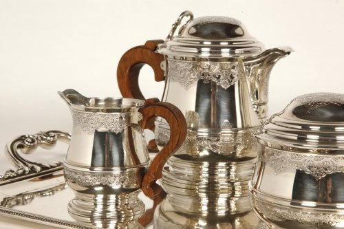 Antique Silver  - Tea/Coffee set and its tray in silver - XXth - by Fouquet Lapar
