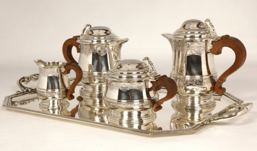 20th century - Tea/Coffee set and its tray in silver - XXth - by Fouquet Lapar