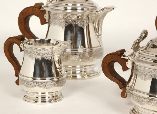 Antiquités - Tea/Coffee set and its tray in silver - XXth - by Fouquet Lapar