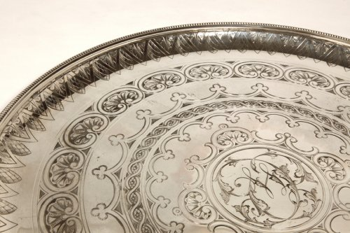 Round tray in silver - XXth - by Cartier  - Antique Silver Style