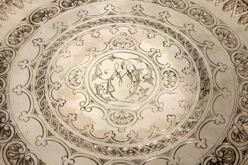 Antique Silver  - Round tray in silver - XXth - by Cartier