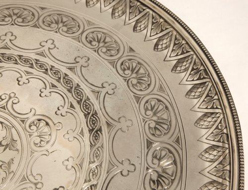 Round tray in silver - XXth - by Cartier  -