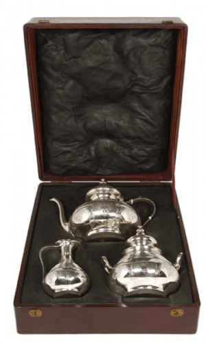Tea offee set in its box - XIXth - by E. Roger