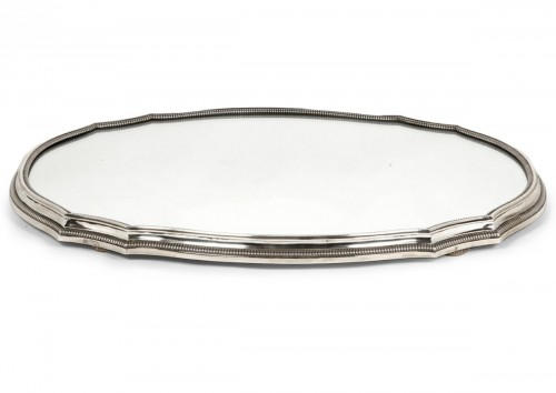 Mirror plateau in silver by D. Roussel, early 20th