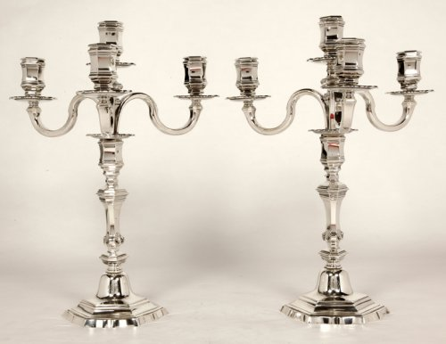 Pair of silver candelabra -early XXth - by R. Linzeler