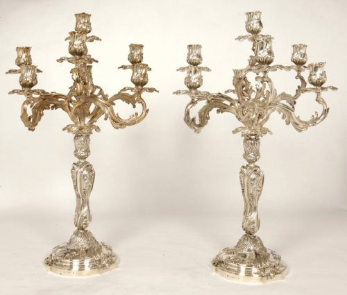 Pair of candelabra in silver rococo style - late XIXth - by Cardeilhac