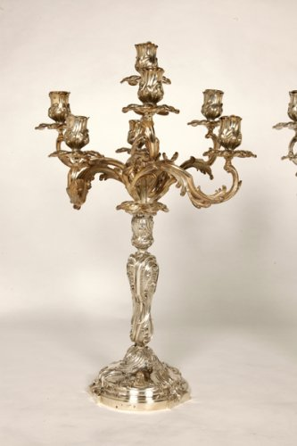 Lighting  - Pair of candelabra in silver rococo style - late XIXth - by Cardeilhac