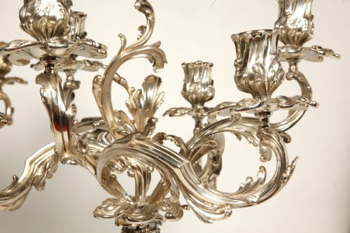 19th century - Pair of candelabra in silver rococo style - late XIXth - by Cardeilhac