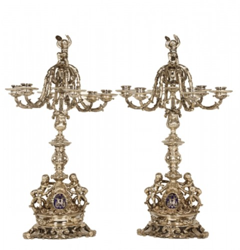 Pair of candelabra in silver - Late XIXth - by M. Mayer