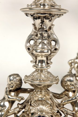 Antiquités - Pair of candelabra in silver - Late XIXth - by M. Mayer