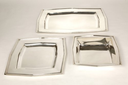 Set of 6 plates - Art Déco - by Cardeilhac - Antique Silver Style Art Déco