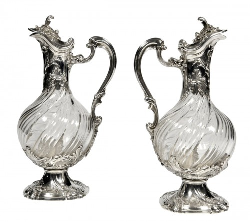 Pair of ewes in silver and crystal - 19th century by Lapar