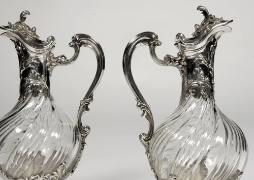Pair of ewes in silver and crystal - XIXth - by Lapar - Antique Silver Style