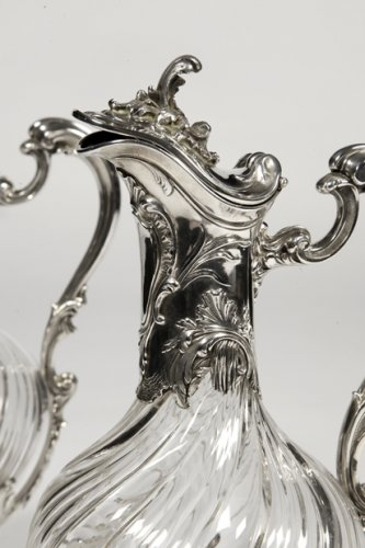 19th century - Pair of ewes in silver and crystal - XIXth - by Lapar