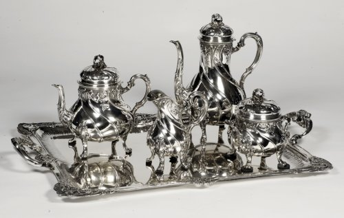Tea/coffee set 4 pieces in silver and its tray - XXth - by Tétard