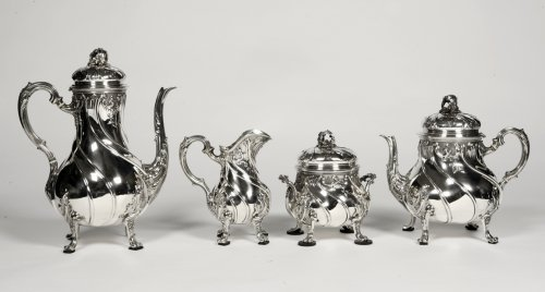 Tea/coffee set 4 pieces in silver and its tray - XXth - by Tétard - Antique Silver Style