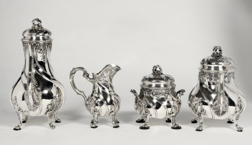 Antique Silver  - Tea/coffee set 4 pieces in silver and its tray - XXth - by Tétard