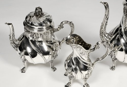- Tea/coffee set 4 pieces in silver and its tray - XXth - by Tétard