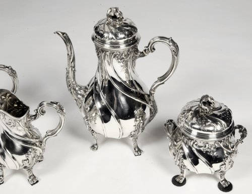Antiquités - Tea/coffee set 4 pieces in silver and its tray - XXth - by Tétard