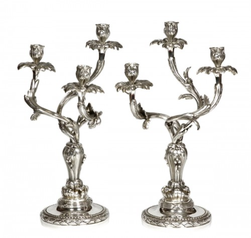 Pair of candelabras in silvered bronze - Late XIXth - by E. Hazart