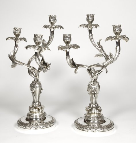 Pair of candelabras in silvered bronze - Late XIXth - by E. Hazart  - Lighting Style Napoléon III