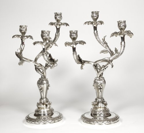 Lighting  - Pair of candelabras in silvered bronze - Late XIXth - by E. Hazart