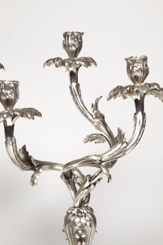 19th century - Pair of candelabras in silvered bronze - Late XIXth - by E. Hazart