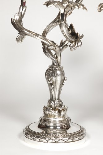Napoléon III - Pair of candelabras in silvered bronze - Late XIXth - by E. Hazart