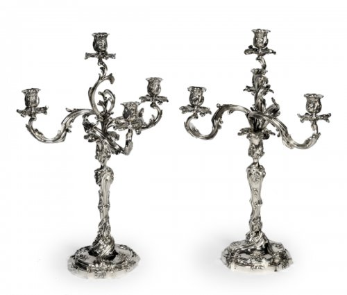 Pair of silver candelabras - Late XIXth - by Cardeilhac