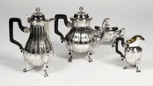Tea coffee set and tray in silver late XIX by Cardeilhac