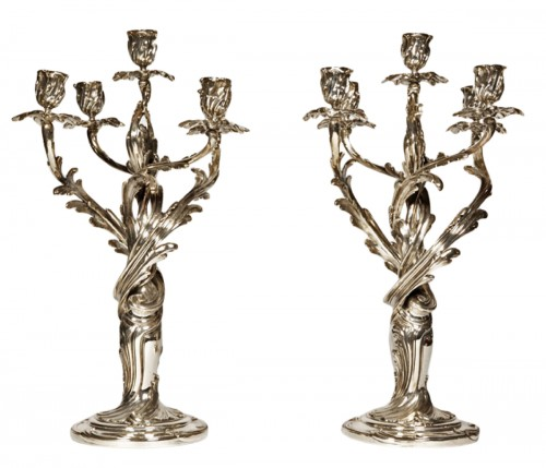 Pair of candelabras in silvered bronze XIXth by Christofle