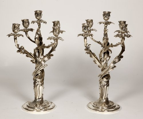 Pair of candelabras in silvered bronze XIXth by Christofle - Lighting Style