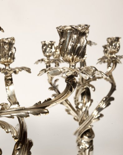 Pair of candelabras in silvered bronze XIXth by Christofle -