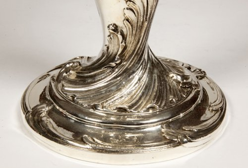 Antiquités - Pair of candelabras in silvered bronze XIXth by Christofle