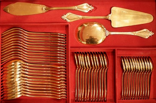 Cutlery set in silver gilt 156 pièces by Keller