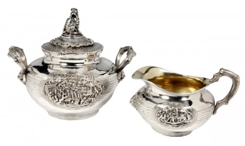 Silver milk jug and sugar pot and cover - XIXth by Duponchel