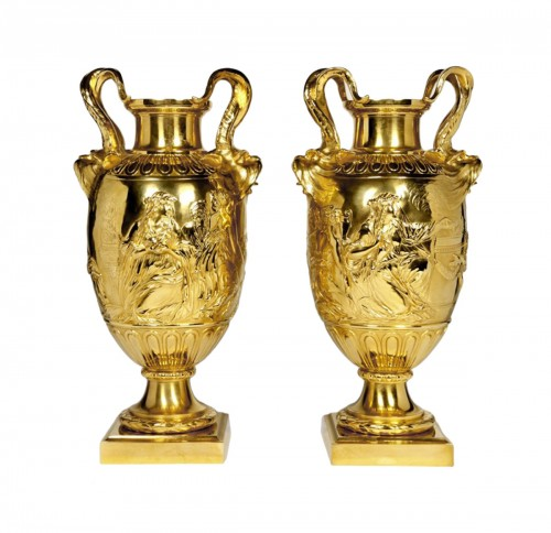 Pair of gilt bronze vases - XIXth by Barbedienne