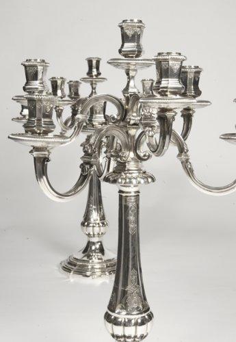 Lighting  - Pair of candelabras by Puiforcat