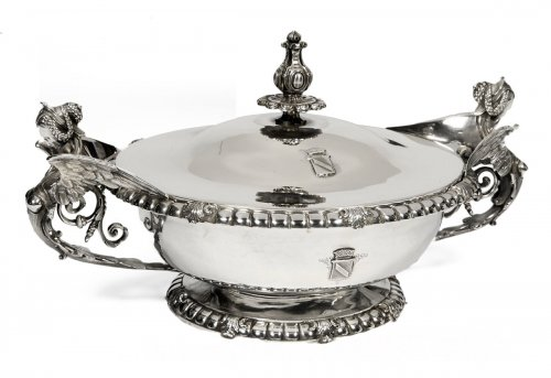 Silver vegetable dish, cover and liner 19th by Froment-Meurice