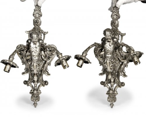 Pair of wall lights in silvered bronze mid 19th century