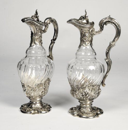 Pair of ewers in crystal and silver -Late XIXth by Labat et Pugibet - Antique Silver Style